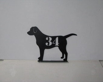 Lab Address Sign Mailbox Topper Metal Dog Yard Art Silhouette