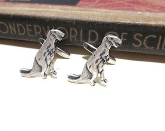 Antiqued Silver Dinosaur Cuff Links - T-Rex t rex trex jurassic park Wedding Cufflinks Soldered Graduation Fathers Day Birthday Gift Men Man