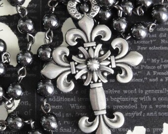 FLEUR de LIS Cross Necklace. Vintage Pewter. Genuine Hematite Rosary Chain. Renaissance Assemblage. Inspired By Anne Boleyn