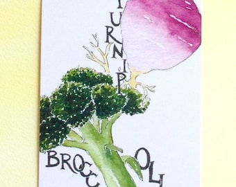 Three Broccoli and Turnip Postcards, gardening quotation on back, 4 in x 6 in, silky smooth card stock, foodie gift