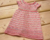 Hand Knitted Baby Dress Hand Knit Baby Girl Dress Bamboo Wool Nylon Dress Handmade baby dress Knit baby dress Small  3 - 6  Months.