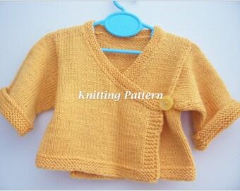 PDF Knitting Pattern -  Baby Kimono, Baby Sweater, Handknitted Wool Kimono,Knitting Pattern