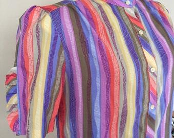 Vintage 1960s 70s Ship N Shore designer collection Rainbow Stripe Blouse