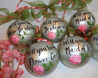Will You Be My Bridesmaid Ornaments, Hand Painted Personalized Ornaments, Will you be my Bridesmaid? HYDRANGEA Ornament, Bridesmaid Proposal