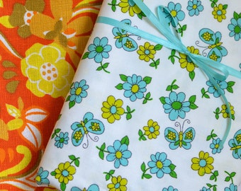 Vintage 1970s Fabric, Fabric Remnants, Choice of Psychedelic or Floral Butterfly Print