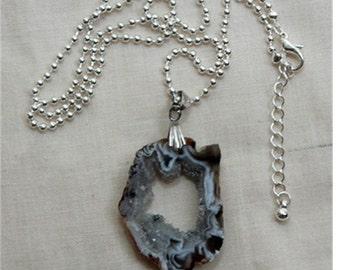Geode Pendant Necklace, Gemstone slice necklace, Druzy gemstone necklace, Stalactite pendant necklace, gift for her