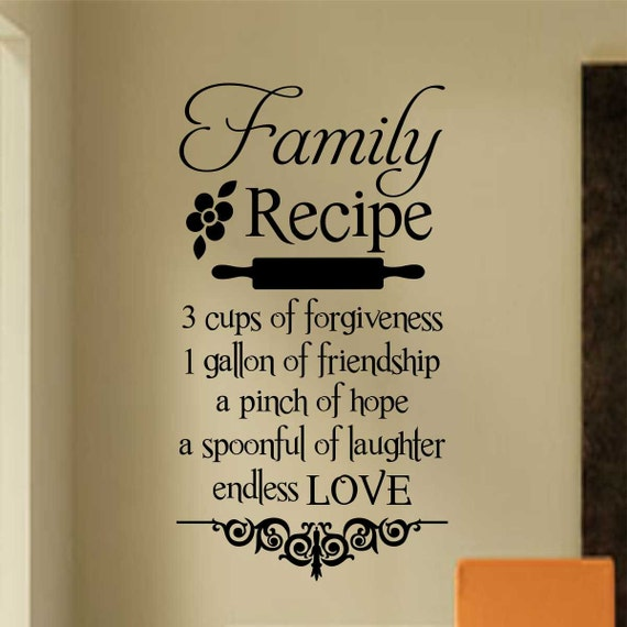 Family Recipe Decal Vinyl Wall Lettering By