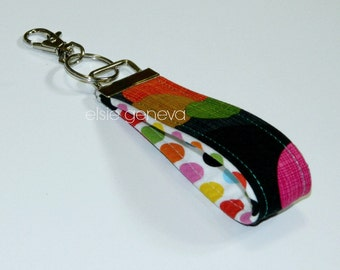 Ready to Ship Bright Colorful Cirlces and Dots Key Fob Wristlet Hot Pink Black Green Blue Yellow Black Brown Orange Green Magenta