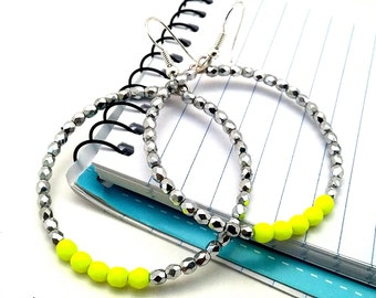 Neon Yellow Silver Earrings, Beaded Hoop Earrings, 80's Inspired Gift Ideas for Her, Metallic Retro Gifts Under 20 for Teenage Girls Women