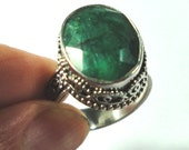 Emerald Ring Vintage Rough Cut Large Emerald Ring in Solid Sterling Silver Size 8