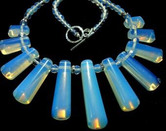 Opalite Necklace Opalite Cleopatra Fan Necklace Opalite Gemstone Bib Collar Necklace with Sterling
