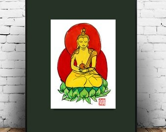 Zen Art Buddha Painting, Shakyamuni in Meditation, Sumi Ink Original Painting, japanese illustration, zen decor, inspirational art, buddha