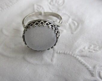 White Sea Glass Ring, Bezel Ring, Sterling Silver Ring, Sea Glass Ring, Beach Glass Ring, Adjustable Ring, Gift for Women, Gift for Her