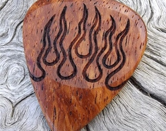 Handmade Premium Laser Engraved Wood Guitar Pick - Afzelia Xylay - Actual Pick Shown - No Stock Photos