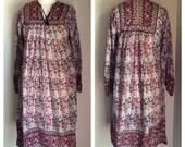 Vintage INDIAN COTTON GAUZE 1970s Peasant Sleeve Boho Hippy Ethnic Festival Dress Size Large