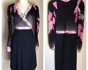 LEONARD PARIS Vintage Pink Lilac 1960s Dress