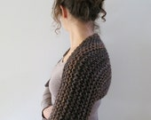 Outlander Inspired Claire Beauchamp Sassenach Knitted Chunky Off Shoulder Shrug Bolero Sleeves Brown Color