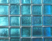 1/2 in. Turquoise Foil Backed Glass Mosaic Tiles//Metallic//Mosaic Supplies//Craft Supplies
