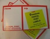 Vintage 1960s Red Dennison Parcel Post Labels Pad of 100 Gummed