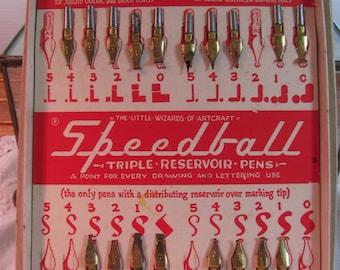 "Vintage Box Set of Speedball Pen Tips or Nibs ""Triple Reservoir Pens"" Collectible"