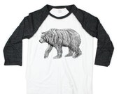 Bear Shirt - Unisex Baseball Shirt - Small, Medium, Large, Extra Large, 2X - Clothing -  Drawing - Sceen Print