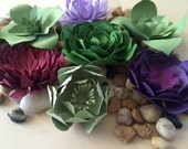 Succulent Escort Cards, succulent centerpiece, wedding decor, escort cards, small paper flowers, paper succulents
