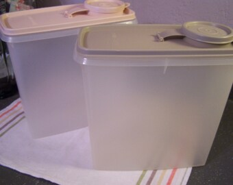Two Tupperware Cereal Keepers, Canisters, Storage Containers, Modular, Flour Canister, Sugar Canister, Dry Goods