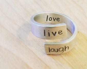 live laugh love wrap ring