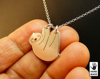 Happy Sloth Handmade Sterling Silver .925 Necklace in a gift box