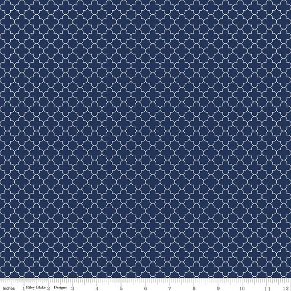 Mini Quatrefoil Fabric In Navy Fabric By The Yard From