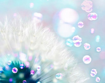 Dandelion Print, Blue, Pink, Purple, Flower Photography, Nursery Decor, Dandelion Art, Bubbles, Dreamy, Baby Neutral