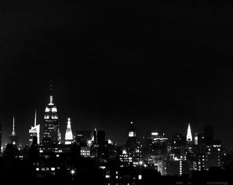 Black and White New York Photography, Manhattan Skyline, NYC Skyline at Night, City Lights, NYC Art, New York City Print