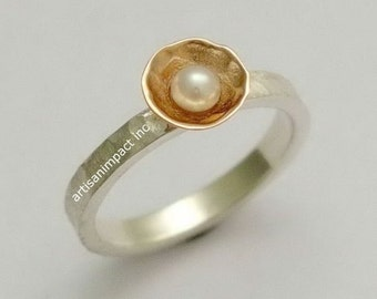Pearl Ring, engagement ring, wedding ring, hammered silver gold ring, twotone ring, engagement ring, mixed metals ring - Delicate R1324