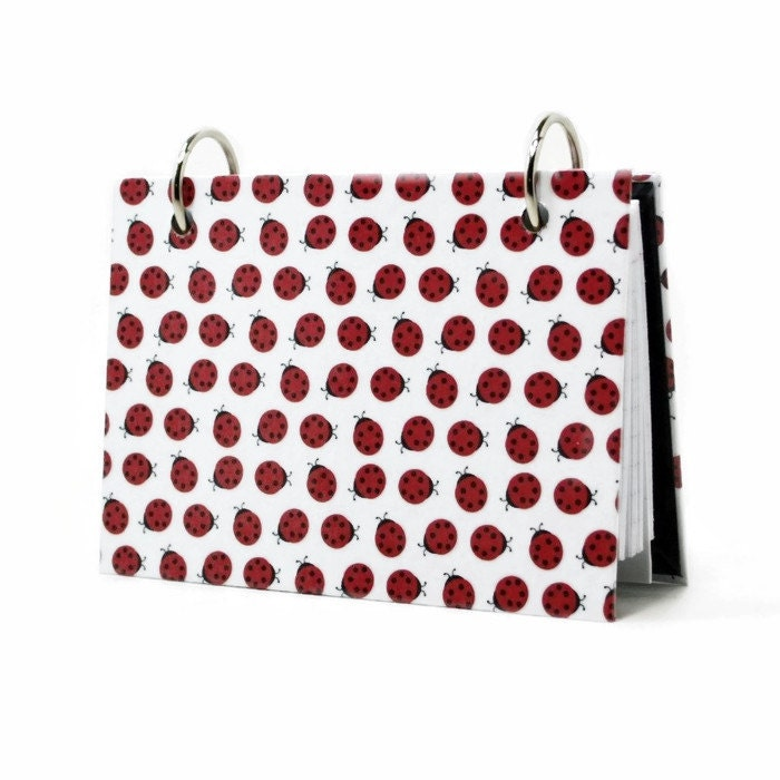 index card binder for 3 x 5 or 4 x 6 cards red lady bugs