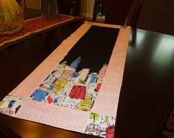table runner--city skyline