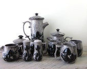Vintage Merry Mushroom Set in Grey and Black 13 Piece Set Teapot, Coffee Pot, Mugs, Sugar, Creamer, Salt and Pepper Shakers