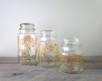 Set of Retro Glass Canisters Jars with Flower Pattern Set of Three