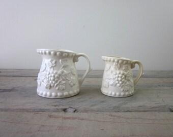 Vintage Set of White Grape Leaf Pattern Pitchers Servers Measuring Cups