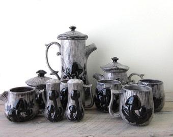 Vintage Merry Mushroom Set in Grey and Black 13 Piece Set Teapot, Coffee Pot, Mugs, Sugar, Creamer, Salt and Pepper Shakers