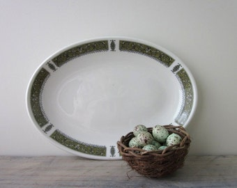 White China Platter with Green Trim Royal Doulton Steelite Marina Pattern