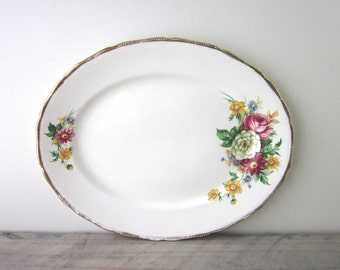 Vintage Oval China Platter with Floral Design China 22 KT Gold Royal Swan England