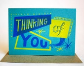 Thinking Of You Hand Printed Card
