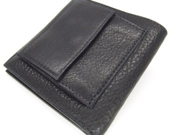 Black leather wallet with 6 card slots and pop coin pocket