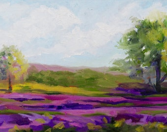 10 x 20 modern impressionist original oil painting landscape of Provence France Lavender Fields by Rebecca Croft