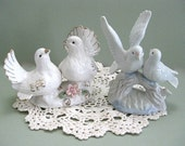 Ceramic Bird Figurines White Bird Decor Bird Flower Love Bird Figure Miniature Bird Decoration Bird Lover Dove Figurine Cake Topper Branch