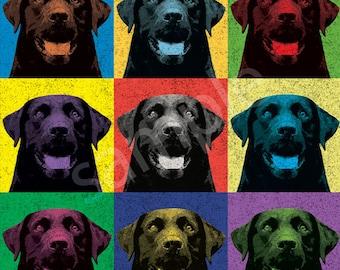 Labrador Retriever (Black Lab) Vintage-Style Pop-Art T-Shirt Tee - Men's, Women's Ladies, Short, Long Sleeve, Youth Kids