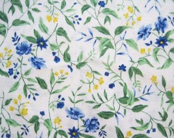 Hoffman Petite Fleurs Cotton Quilting Fabric Yardage Floral Blue Yellow Green – 1 Yard