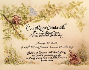 Made to Order, Custom Calligraphy, Baptism, Wedding, Anniversary, Calligraphy, Bunny, Squirrel, Blue Bird,  Earth Tones.