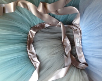 Classic colonial blue and silver fluffy tutu. Featured in Martha Stewart Wedding Magazine Spring 2011 Flower Girl layout.
