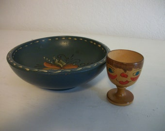 Vintage Norwegian Rosemaling Wood Bowl and Hand Painted Egg Cup Made in Norway